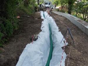 drenaggi ingegneria naturalistica Realizzazione di trincea drenante lungo strada in frana Valdagno