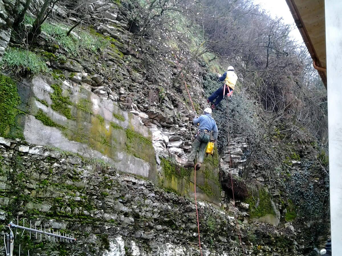 lavori in parete lavori in fune Messa in sicurezza di pareti rocciose Chiampo